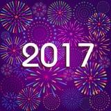 Feliz Año Nuevo 2017 con el fondo de los fuegos artificiales Imágenes de archivo libres de regalías