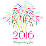Feliz Año Nuevo 2016 con el fondo del día de fiesta de los fuegos artificiales Imagenes de archivo