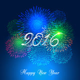 Feliz Año Nuevo 2016 con el fondo del día de fiesta de los fuegos artificiales Fotografía de archivo