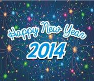 Feliz Año Nuevo 2014 con el fondo del fuego artificial Foto de archivo