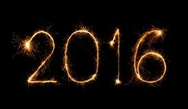Feliz Año Nuevo 2016 con el fuego artificial de la chispa Fotografía de archivo libre de regalías