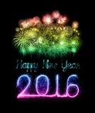 Feliz Año Nuevo 2016 con el fuego artificial de la chispa Imagen de archivo libre de regalías