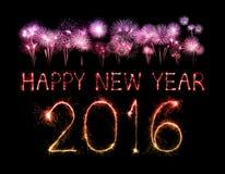 Feliz Año Nuevo 2016 con el fuego artificial de la chispa Fotos de archivo
