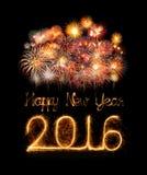 Feliz Año Nuevo 2016 con el fuego artificial de la chispa Foto de archivo