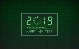 Feliz Año Nuevo 2019 con el icono de la barra de cargamento en fondo del código binario digital abstracto y del color verde libre illustration