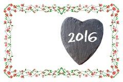 Feliz Año Nuevo 2016 con el marco de rosas y del copyspace Fotografía de archivo libre de regalías