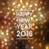 Feliz Año Nuevo 2016 con el modelo de la llamarada del bokeh y de la lente en fondo amarillo Imagen de archivo libre de regalías