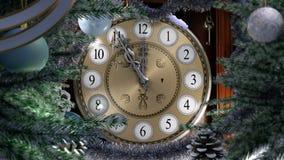 Feliz Año Nuevo con el reloj viejo stock de ilustración