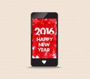 Feliz Año Nuevo 2016 con el teléfono del color rojo de los corazones Foto de archivo
