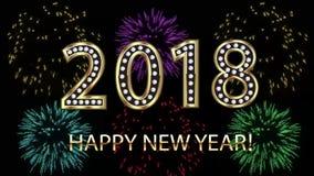 Feliz Año Nuevo 2018 con la animación colorida del vídeo de los fuegos artificiales metrajes