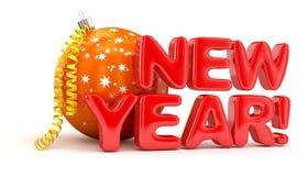 Feliz Año Nuevo con la bola de la Navidad Imagen de archivo libre de regalías