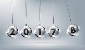 Feliz Año Nuevo 2018 con la cuna de cristal de los neutonios, nuevo feliz Foto de archivo