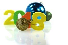 Feliz Año Nuevo con la decoración de la Navidad Imagen de archivo