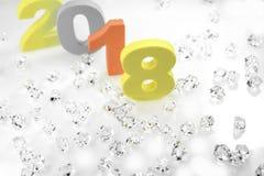 Feliz Año Nuevo con la decoración de la Navidad Imágenes de archivo libres de regalías
