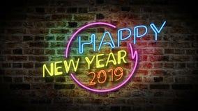 Feliz Año Nuevo con la luz de neón 2020 ilustración del vector