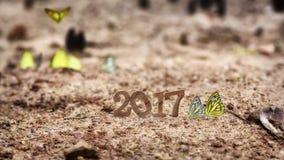Feliz Año Nuevo 2017 con la mariposa Imagen de archivo