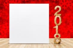 Feliz Año Nuevo 2018 con la tarjeta de felicitación blanca en blanco en perspectiv Imagen de archivo libre de regalías