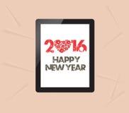 Feliz Año Nuevo con la tarjeta de felicitación en tableta Fotografía de archivo
