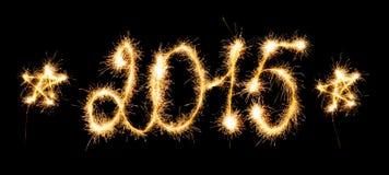 Feliz Año Nuevo - 2015 con las bengalas Imagen de archivo libre de regalías