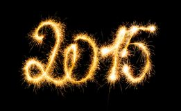 Feliz Año Nuevo - 2015 con las bengalas Imágenes de archivo libres de regalías