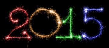Feliz Año Nuevo - 2015 con las bengalas Foto de archivo libre de regalías