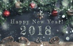 Feliz Año Nuevo con las decoraciones de la Navidad Fotos de archivo libres de regalías