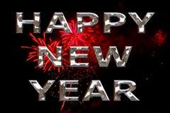 Feliz Año Nuevo con los fuegos artificiales Fotografía de archivo libre de regalías