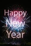 Feliz Año Nuevo con los fuegos artificiales Imagen de archivo libre de regalías