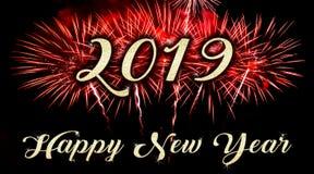 Feliz Año Nuevo con los fuegos artificiales en el fondo fotografía de archivo libre de regalías