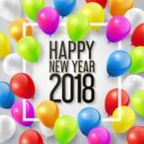 Feliz Año Nuevo 2018 con los globos coloridos para el concepto de la celebración del espacio de la copia, ejemplo del vector ilustración del vector
