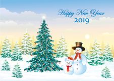 Feliz Año Nuevo 2019 con un árbol de navidad festivo y con los muñecos de nieve stock de ilustración