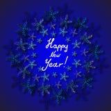 Feliz Año Nuevo. Copos de nieve. Imagen de archivo libre de regalías