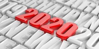 Feliz Año Nuevo 2020, dígitos rojos y letras blancas ilustración 3D libre illustration