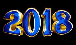 Feliz Año Nuevo 2018 3D como diseño del texto del oro del vector ilustración del vector