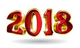 Feliz Año Nuevo 2018 3D como diseño del texto del oro del vector con b negro libre illustration