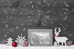 Feliz Año Nuevo de Gray Christmas Background Snowflakes Frame Imagenes de archivo