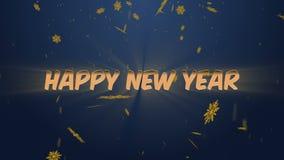 Feliz Año Nuevo de la animación en un fondo azul de la pendiente con los copos de nieve stock de ilustración