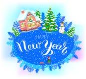 Feliz Año Nuevo de la bandera redonda Fotografía de archivo libre de regalías