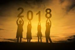 Feliz Año Nuevo 2018 de la familia Imagen de archivo libre de regalías