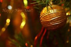 Feliz Año Nuevo de la inscripción de la tarjeta Imagen de archivo