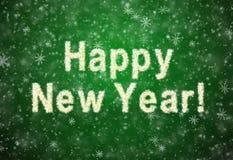 Feliz Año Nuevo de la inscripción de los copos de nieve Imagen de archivo libre de regalías