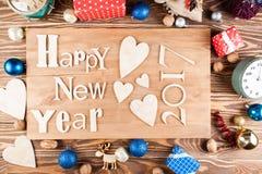 Feliz Año Nuevo de la inscripción de madera Foto de archivo
