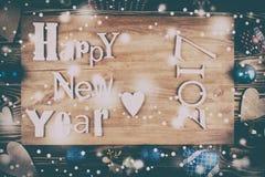 Feliz Año Nuevo de la inscripción de madera Imagenes de archivo
