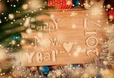 Feliz Año Nuevo de la inscripción de madera retra Imagen de archivo libre de regalías