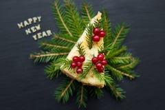 Feliz Año Nuevo de la inscripción hermosa de la torta del pedazo Fotografía de archivo libre de regalías