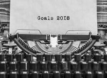 Feliz Año Nuevo de la máquina de escribir vieja del vintage Foto de archivo libre de regalías