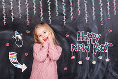 Feliz Año Nuevo de la muchacha Imagenes de archivo