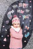 Feliz Año Nuevo de la muchacha linda Imagen de archivo libre de regalías