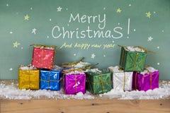 Feliz Año Nuevo de la Feliz Navidad Rectángulo de regalo colorido Imagen de archivo libre de regalías
