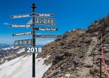 Feliz Año Nuevo de la pizca del poste indicador Fotografía de archivo